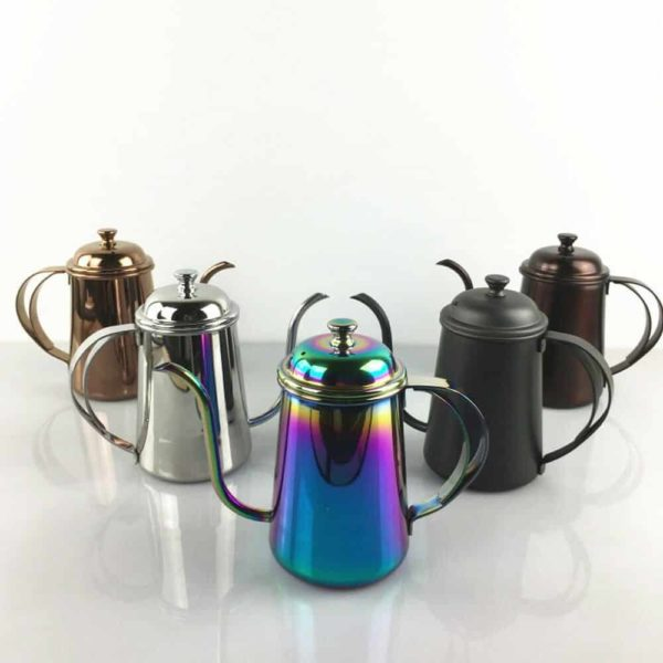 กาต้มน้ำสแตนเลสสตีล กาดริปกาแฟที่มีด้ามจับคู่, 650 มล