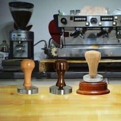 Tamper กดกาแฟเอสเปรสโซ่ ที่กดกาแฟที่จับไม้ฐานสแตนเลส